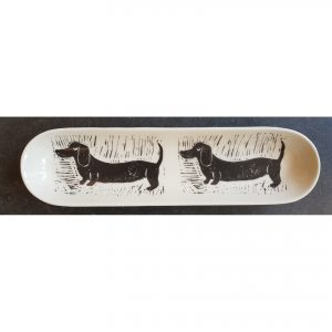dish, eartnemware, tableware, baguette dish, monochrome pottery, black and white, linocut, dogs, daschund, jane adams ceramics
