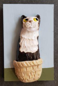 black and white cat, cat wall plaque, cat, ceramic cat, cat wall plaque, ceramic cat ornament. pottery cat, jane adas ceramics, cat in a basket