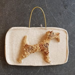 wall plaque, wall hanging, ceramic fox terrier, fox terrier dog, pottery fox terrier, crackle glaze, hand panted, hand made ceramics, jane adams ceramics