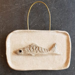 mackerel, wall hanging, fish, pottery fish, ceramic fish, jane adams ceramics