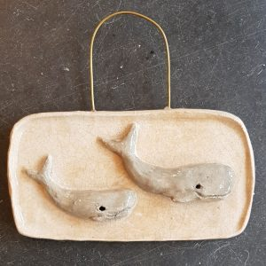 whales, ceramic whales, whale pottery, pottery whales, ceramics, handmade ceramics, wall hanging, whale pottery, jane adams cereamics