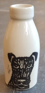 vase, milkbottle, earthenware, tableware, monochrome, linocut, dog, terrier, janeadams ceramics