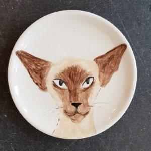plate, hand painted, siamese, siamese cat, jane adams ceramics