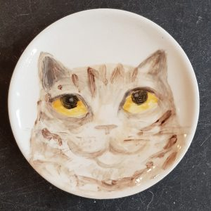 hand apinted plates, tabby cats, painted plates, cats, hand painted, jane adams ceramics,
