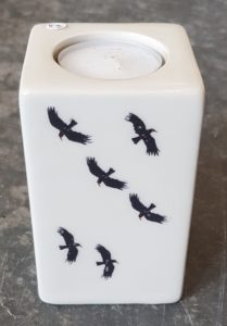 tealight, tealight holder, monochrome, black and white, earthenware, choughs, cornwall, linocut, jane aams ceramics, tableware, candles