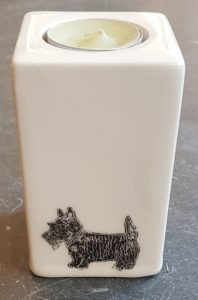 teaight, tealight holder, black and white, monochrme pottery, scottie dog, candlestick, candle hlder