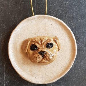 ugs, pug ornaments, pottery pugs, ceramic pug, wall hanging, janeadams ceramics. handmade, stoneware