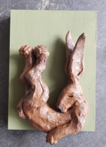 ceramic hares, pottery hares, handmade hares, hare wall plaque, hare ornaments, studio ceramics, stoneare, jane adams