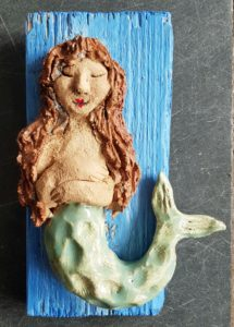 mermaid, mermaids, pottery mermaids, ceramic mermaids, wall plaque, seaside, sea, myths, wall handing, jane adams ceramics, ceramics, cornwall