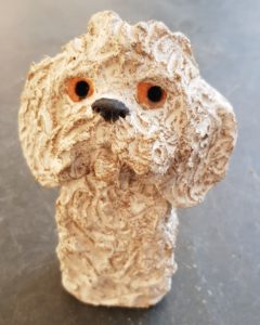 rogues gallery, dog, ceramic dog, pottery dogs, dog ornaments, cavapoo, handbuilt ceramics, jane adams ceramics