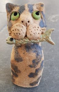 ceramic cat, rogues gallery, cats, pottery cats, handbuilt ceramic animals, pottery animals, stoeware cats, cat and fish