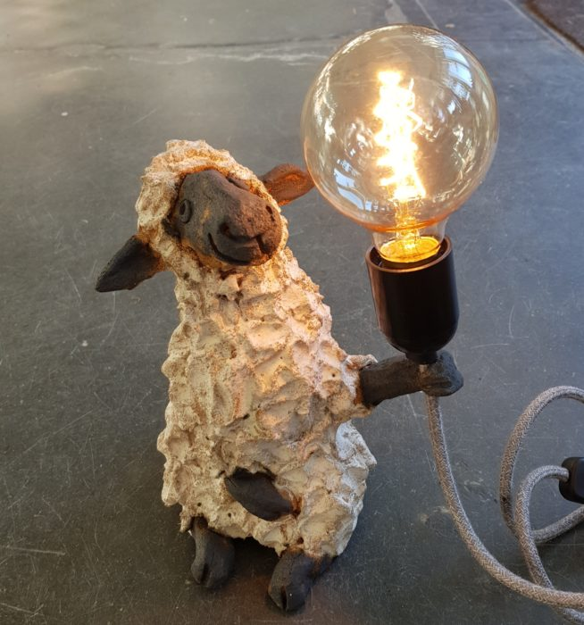 ceramic lamps, ceramic sheep, sheep lamp base, vintage lamps, vintage bulb, studio pottery lamps, animal lamp bases, jane adams ceramics, sheep gifts