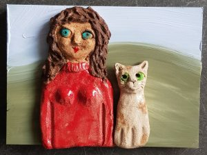 ceramic people, ceramic cat, wall plaque, jane adams ceramids, stoneware, handbuilt stoneware, studio ceramics