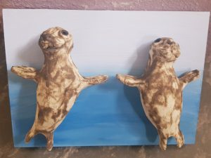 seal, seals, grey seals. ceramic seal, pottery seals, wall plaque, sea theme, marine life, wall hanging, jane adams ceramics, cornwall