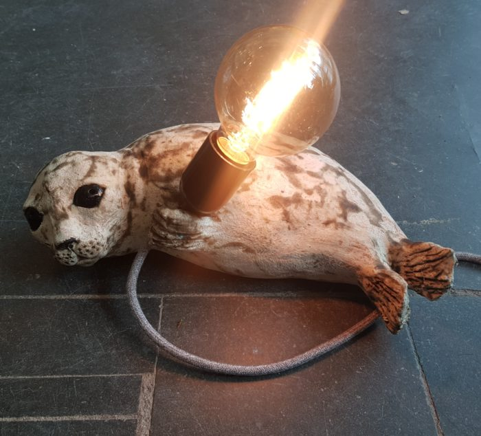 seal, ceramic seal, lamp, lampbase, light, vintage light, handmade stoneware, stoneware, ceramic animals, homewares, jane adams ceramics, cornwall