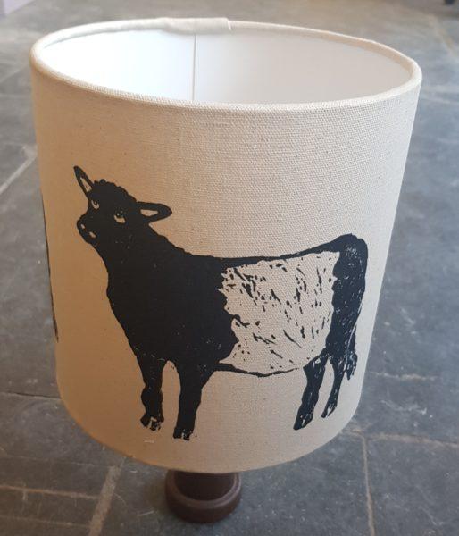 lampshade, interiors, interior design, shade, belted galloway, cow. beltie, liocut, lino print, jane adams ceramics