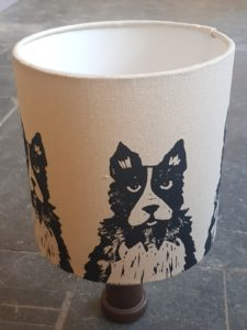 lampshade, handmade lampshade, collie, dollie dog, border collie, linocut, printed lampshade, designer lampshade, jane adams ceramics