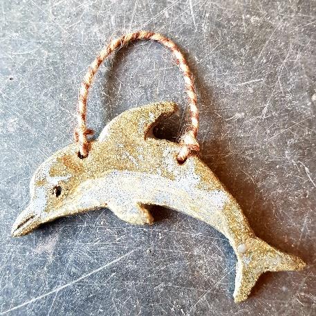 dolphin, ceramic dolphins, pottery dolphins, dolphin ornaments, handmade pottery dolphin, stoneware, studio pottery dolphin, jane adams ceramics