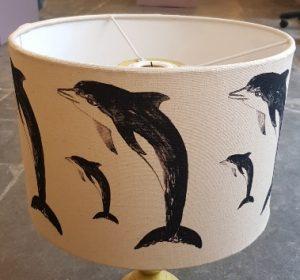 lampshade, designer lampshade, handmade lampshade, dolphins, dolphin, dolphin lampshade, linocut, blak and white, jane adams