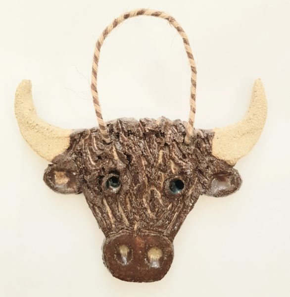 highland cow, coo, highland cattle, pottery highland cow, pottery cows, wall hangers, cow gifts, cow ornaments, jane adams ceramics, handmade stoneware