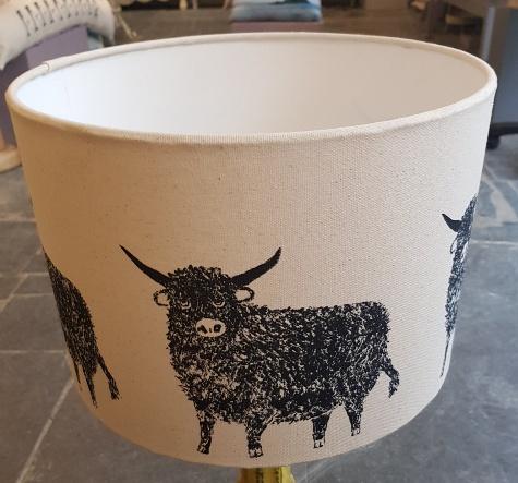 highland cow, lampshade, handmade lampshade, designer lampshade, linocut, linoprint, jane adams