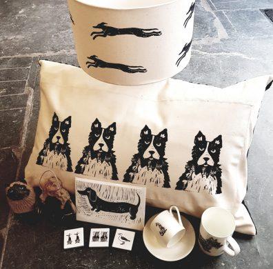 Cushions,cards,ceramics and lampshades