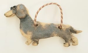 daschund, wall hanger, daschind gifts, pottery daschunds, stoneware, jane adams ceramics, dog gifts, pottery dogs, dog ornaments, daschund ornaments