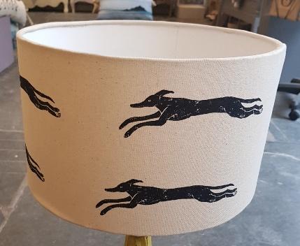 lampshade, handmade lampshade, designer lampshade, running greyhound, greyhound gifts, dog gifts, whippet gifts, whippet design, dog lampshades, linprint, linocut, jane adams