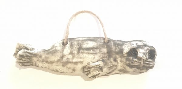 seal, ceramic seal, pottery seals, seal ornament, wall hanger, stoneware clay, grey seal, seal ornaments, jane adams ceramics