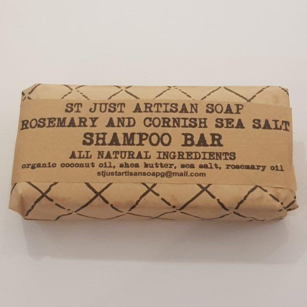 shampoo bar, rosemary, seasalt, handmade, vegan friendly, st just artisan soap, cornwall, organic, coconut oil, shea butter