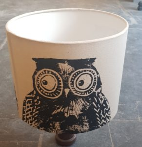 lampshade, owls, owl, handmade lampshade, linocut, linoprint, homeware, jane adams