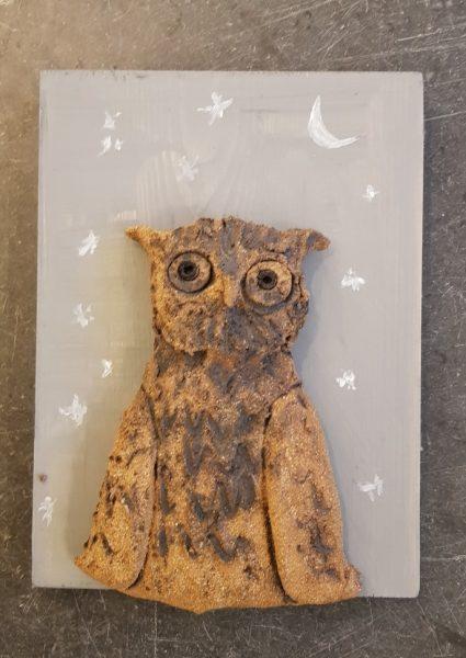 owl, owls, owl wall plaque, ceramic owl, pottery owls, handmade stoneware ceramics, jane adams ceramics