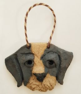 terrier, dog wall hanger, dog ornament, dog gifts, ceramic dogs, pottery dogs, stoneware dogs, studio pottery dogs, jane adams ceramics