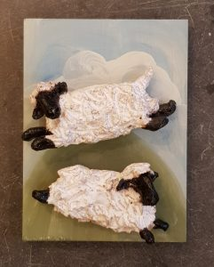 sheep, ceramic sheep, pottery sheep, sheep wall plaque, sheep ornaments, hand built sonteare, sutdio pottery sheep, jane adams ceramics