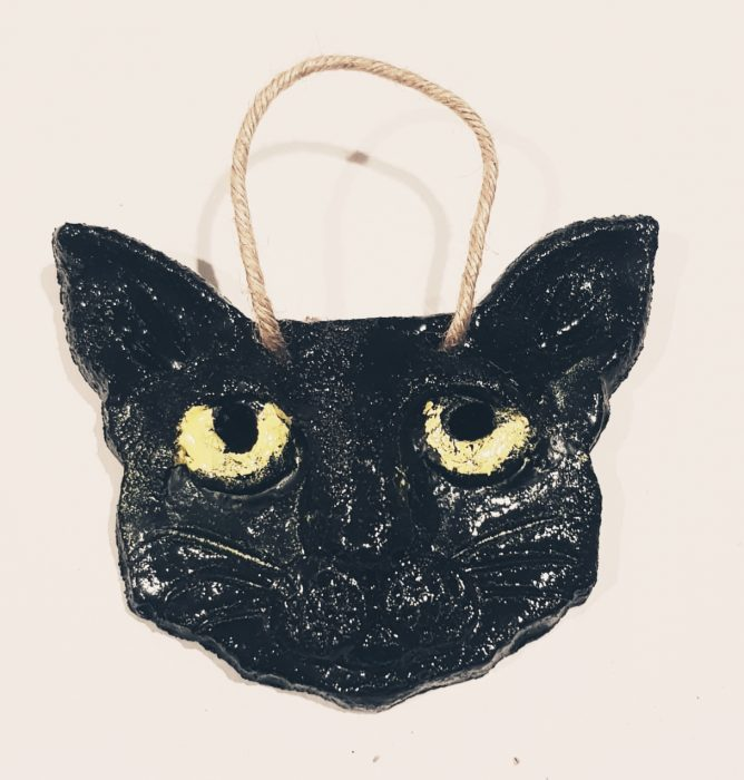 cat head wall hanger grey