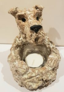 ceramic dog, ceramic fox terrier, ceramic terrier, fox terrier, pottery dogs, pottery fox terrier, handmade ceramics, studio pottery, pottery dogs, dog ornaments, dog tealight holder, dog candle holder, candle holders, jane adams ceramics