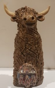 rogues gallery, highland cow, ceramic cow, pottery cows, pottery highand cow, sporran, hand built ceramics,