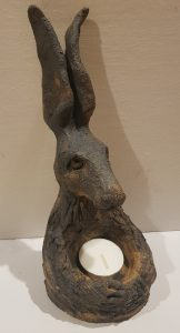 hare, ceramic hare, hare treasure pot, trinket dish, candle holder, tealight holder, stoneware, hand built, jane adams ceramics