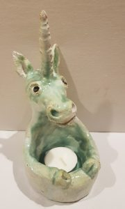 unicorn, pottery unicorn, ceramic unicorn, unicorn trinket dish, unicorn candle holder, unicorn tealight holder, hand built eramics, studio pottery, jane adams ceramics