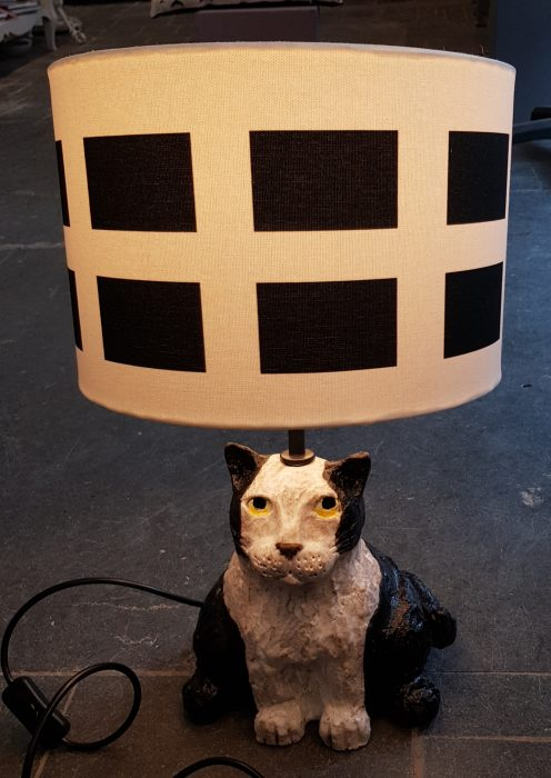Lampbase, ceramic cat, Cornwall, black and white cat, st piran, cornish flag, saint