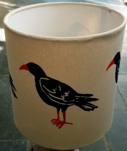 cornish chough, chough, chough design, lampshade, handmade lampshade, designer lampshade, lino printing, illustration, the jane adams gallery, cornwall, jane adams ceramics