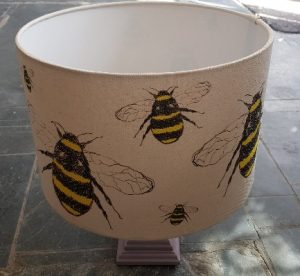 HANDMADE LAMPSHADE, kamshade, bespoke lampshade, bumblee bee, bee, bee design, bee illustration, bee lampshade, bumble bee things, bumblebee images, jane adams, cornwall