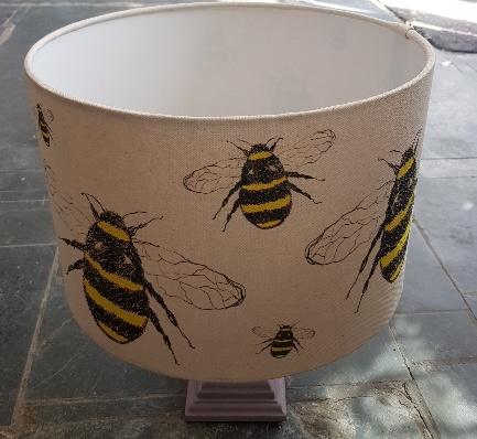HANDMADE LAMPSHADE, kamshade, bespoke lampshade, bumblee bee, bee, bee design, bee illustration, bee lampshade, bumble bee things, bumblebee images, jane adams, cornwall