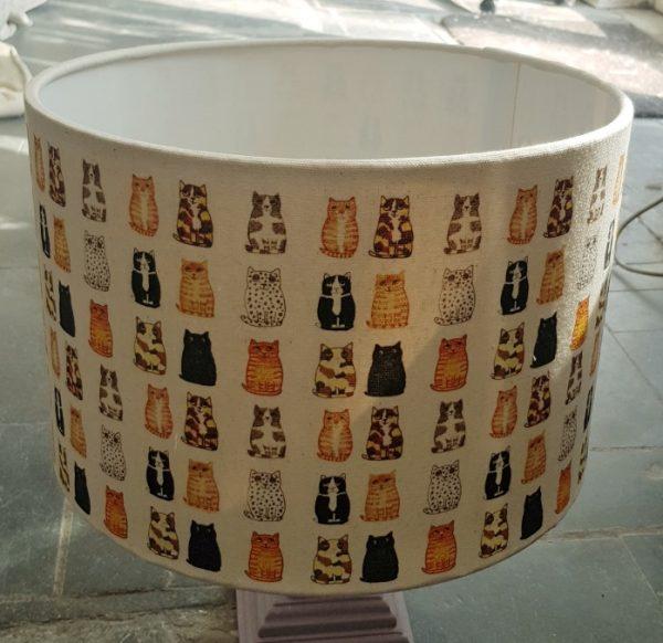 HANDMADE LAMPSHADE, cat design, cat lampshade, handmade lampshade, designer lampshade, cat themed decor, jane adams, illustration, cornwall