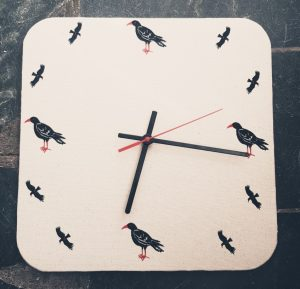 wall clock, fabric clock, chough clock, square clock, handmade clock,