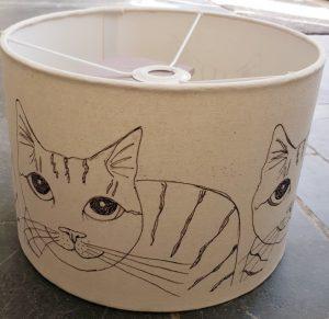 lampshade, handmade lampshade, lamp shade, designer lampshade, lampshade with cats on, cat lampshade, illustrated lampshade, jane adams, cornwall