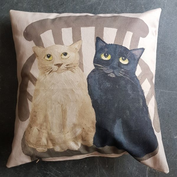 cushion, home ware, cat cushion, original painting of cats, cats on cushion