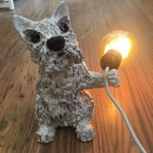 lamp, lampbase, vintage bulb, dog lamp bases, westie. westie dog, west highland white. westie terrier, ceramic lamps, jane adams ceramics, cornish ceramics, dog gifts, dog shaped lamp