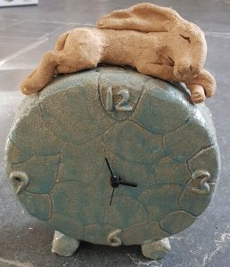clock, clocks, round clock, ceramic clock, hare clock, handmade clock, ,mantel shelf clock, jane adams ceramics