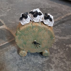 clock, mantel clock, ceramic clock, handmade clock, sheep, ceramic sheep clock, jane adams ceramics